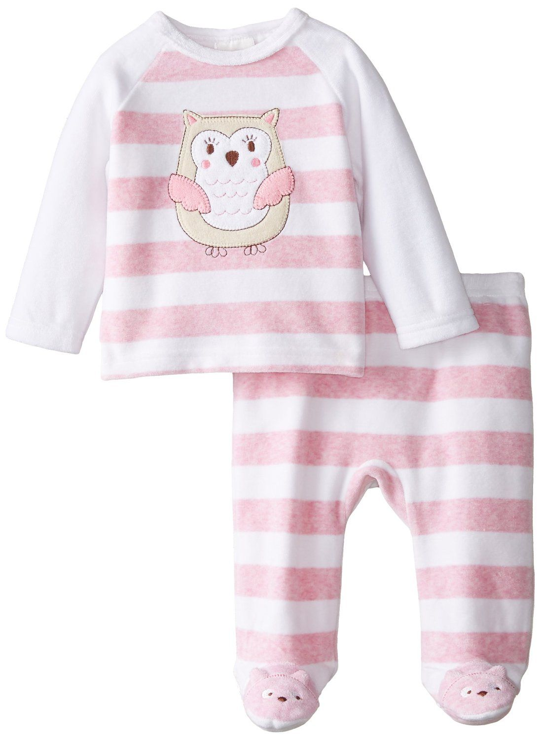 295574af36e3 Amazon.com  ABSORBA Baby-Girls Newborn Heathered Pink Velour Footed ...