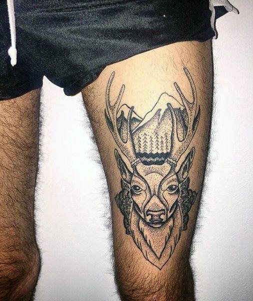 Deer Tattoo Thigh Tattoos Mens Leg Tattoo Tatoo Tattoos For Men