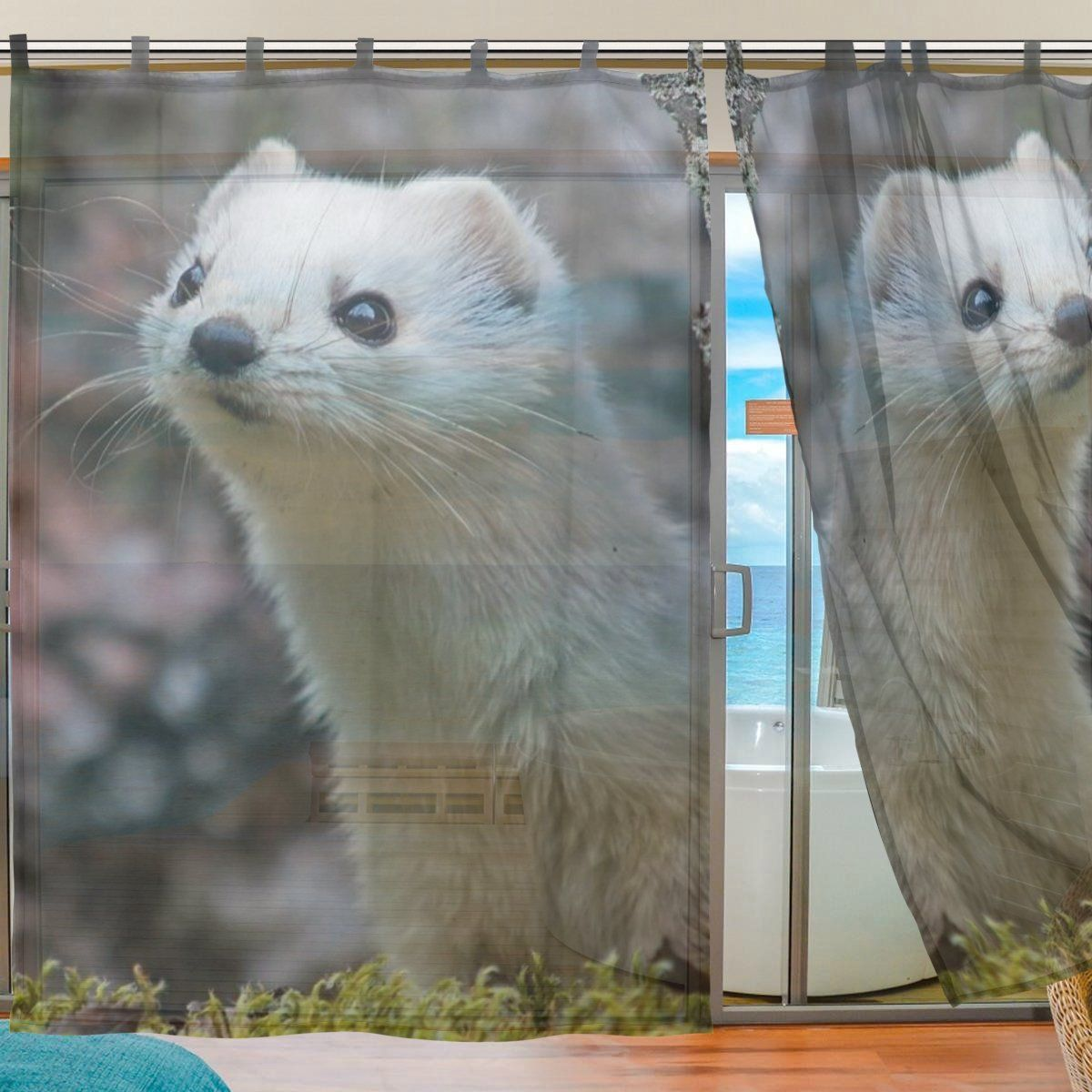 Ingbags Bedroom Decor Living Room Decorations Ferret Pattern Print Tulle Polyester Door Window Gauze Sheer Curtain Drapes Curtains Curtains Windows And Doors