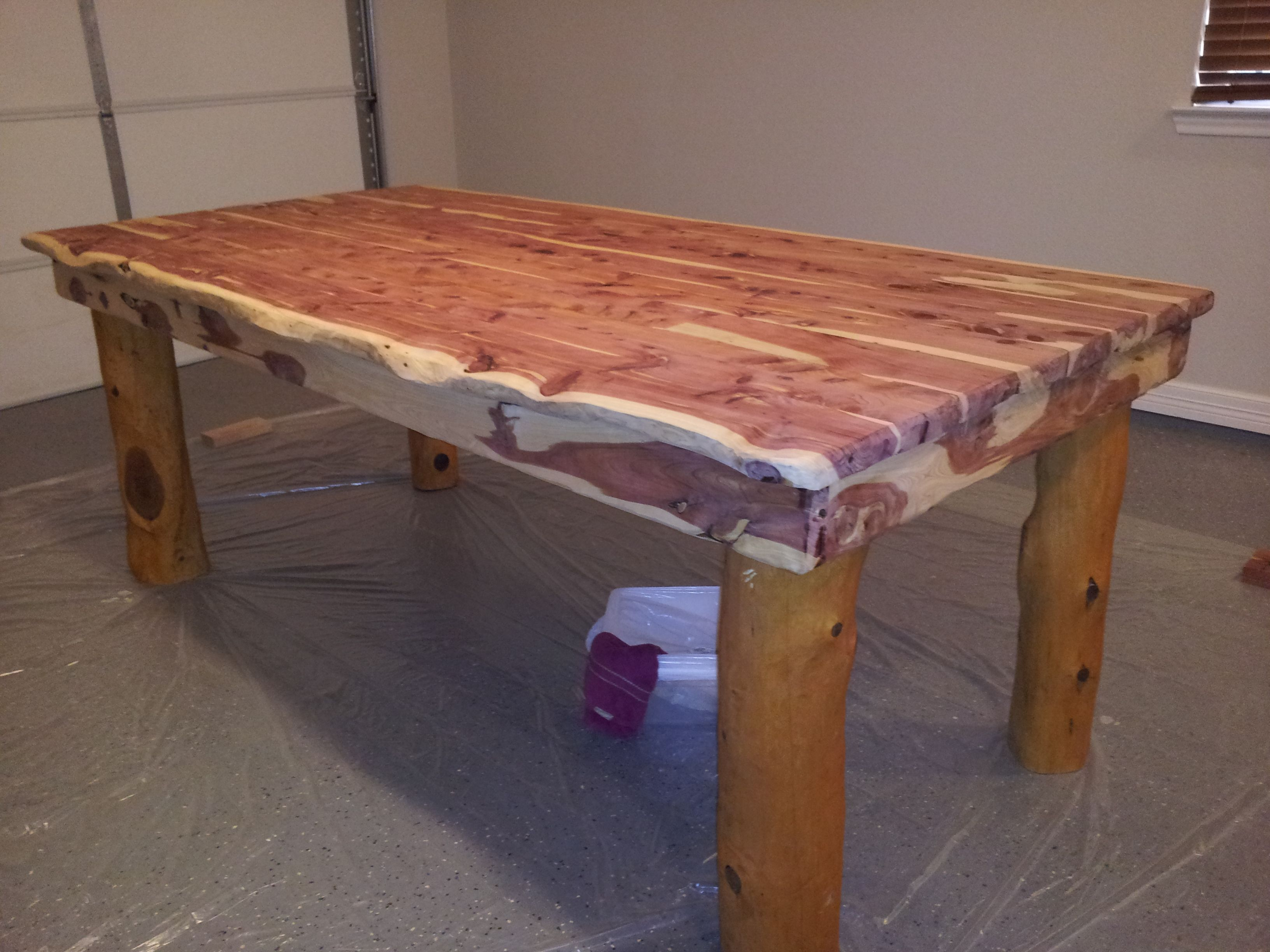 homemade cedar table made from trees off my property for the home rh pinterest com