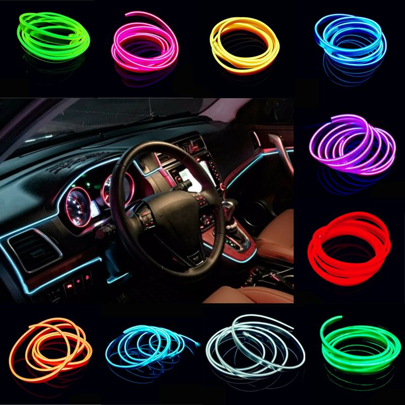 2M Cold Light EL Wire Flexible Neon Light AUTO interior refit light ...