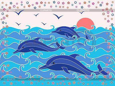 Tres Delfines En Las Olas Del Mar Ilustracion Vectorial De Stock Olas De Mar Delfines Dibujo Del Mar