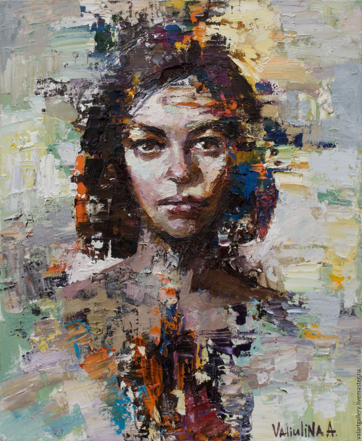 Abstract woman portrait painting original oil painting