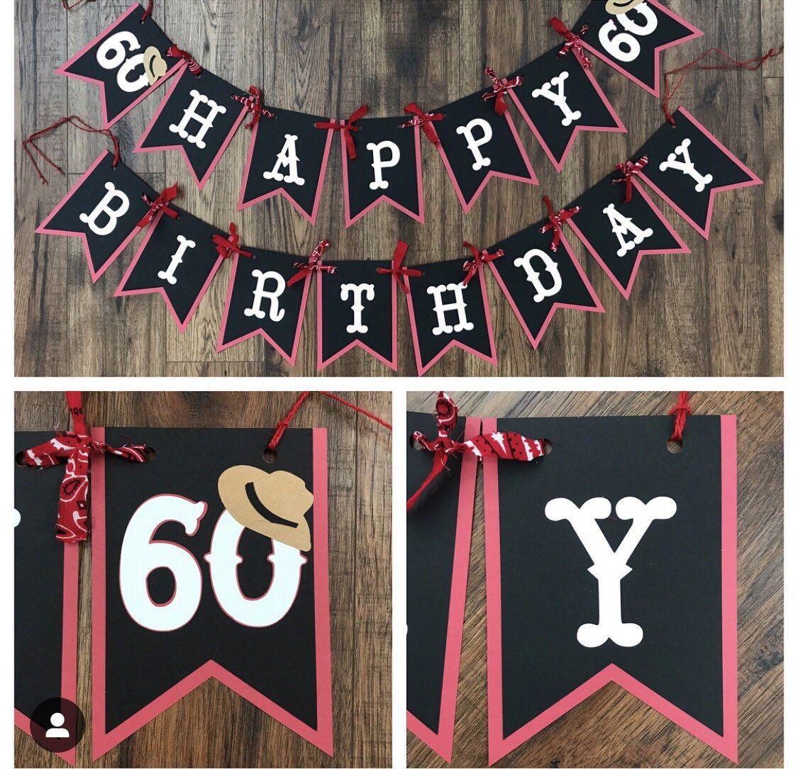 Cowgirl Western Happy Birthday Banner Birthday Decoration Photo