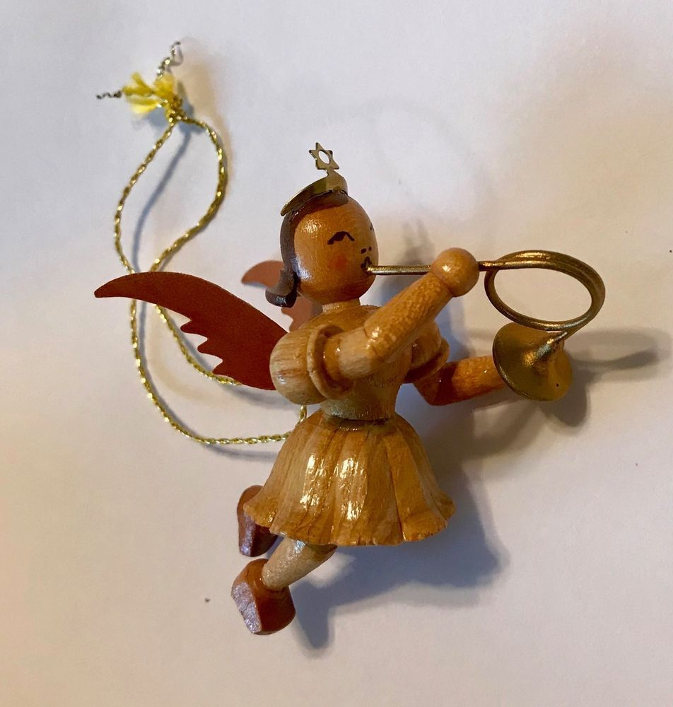 German Christmas Ornament Wooden Angel Playing French Horn Hanging Tree Ornament