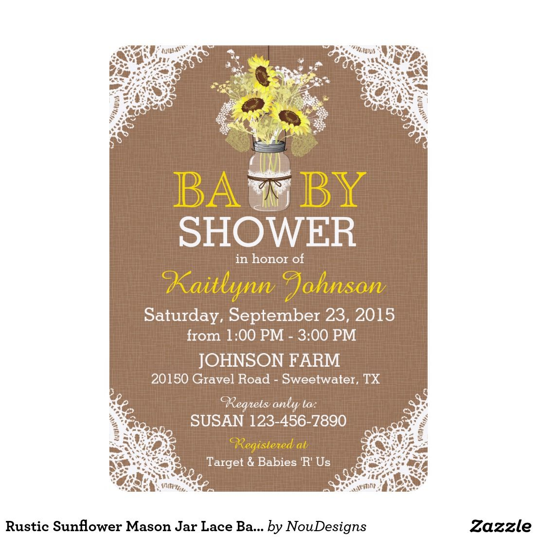 Rustic Sunflower Mason Jar Lace Baby Shower Invite | My Baby Shower ...