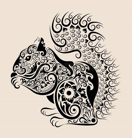 Squirrel Drawing With Floral Ornament Vector Squirrel Tattoo Drawings Squirrel