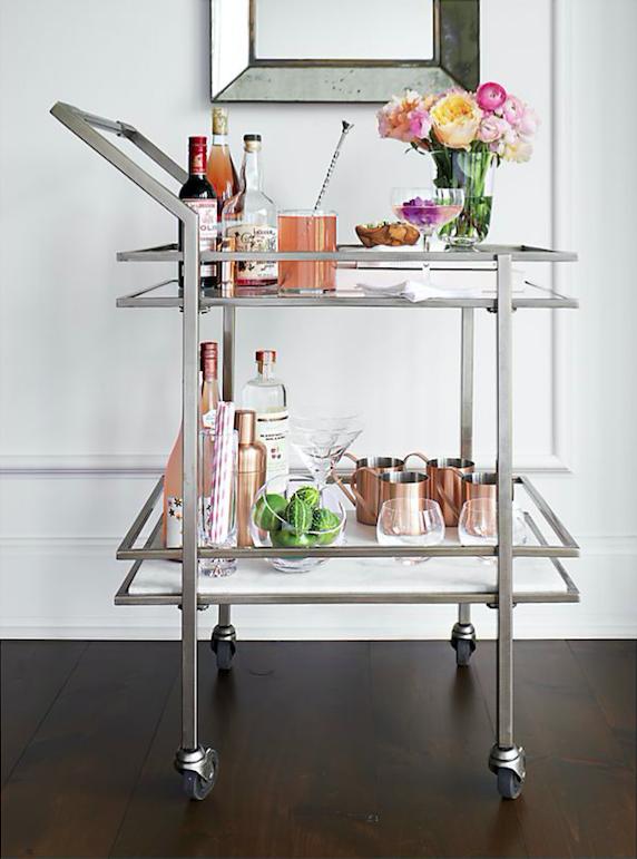 Deco Bar Cart (love the lower marble shelf!)