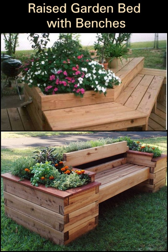 Raised Garden Bed With Benches Garden Beds Building A