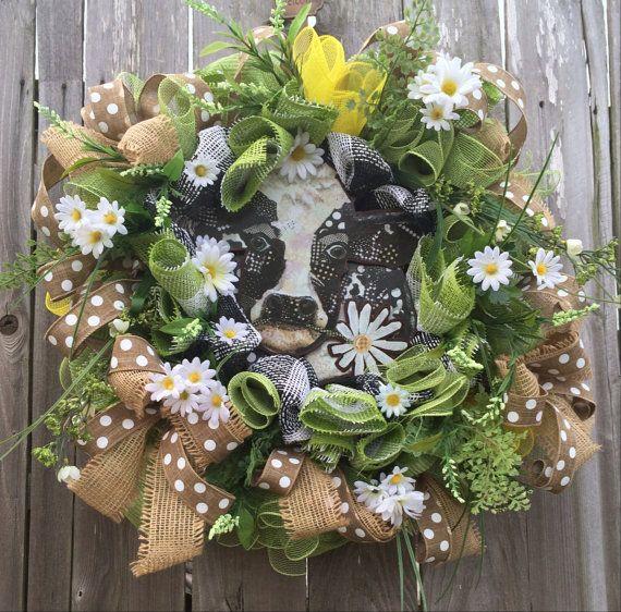 Spring Wreath Summer Wreath Farm Wreath Cow Wreath By