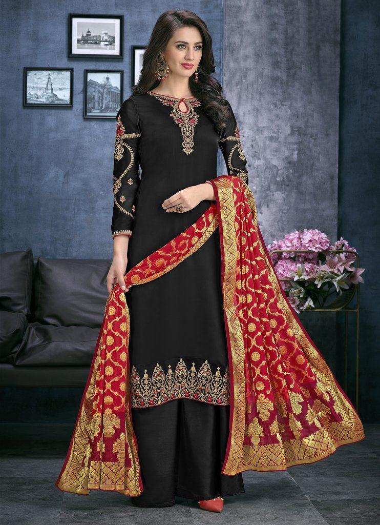 c0e5c8348c Black Embroidered Satin Georgette Palazzo Salwar Kameez Suit (Unstitched)  #palazzo #palazzopants #
