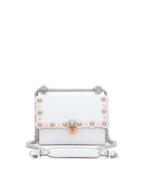 FENDI Kan I Mini Scalloped Studded Chain Shoulder Bag 315504ff5a3a6