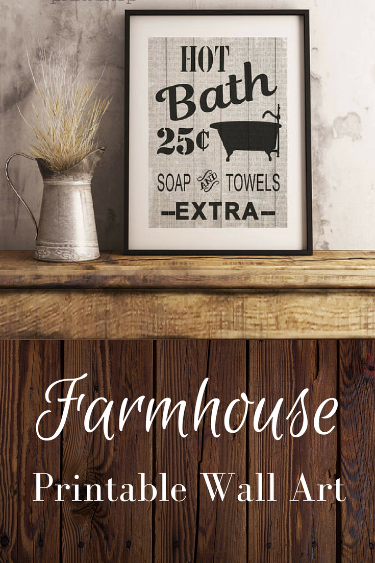 Bathroom Wall Decor Printable Farmhouse Rustic Art Printables Fixer Upper Vintage Ad