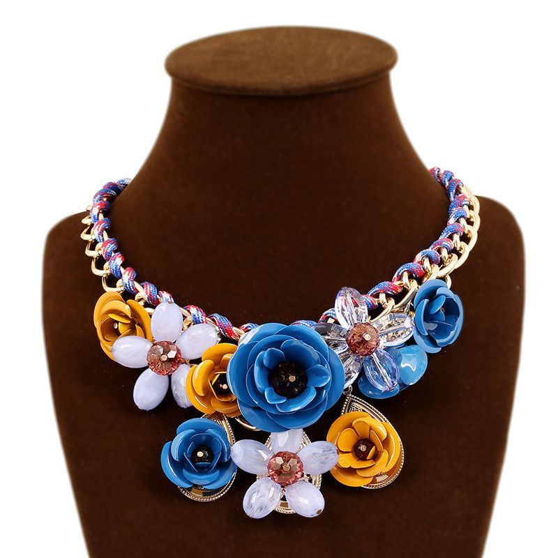 New Fashion Flower Jewelry JC For Women Big Crystal Rope Chain Necklaces Rope Chain Chunky Choker Necklace Colares Bijuterias