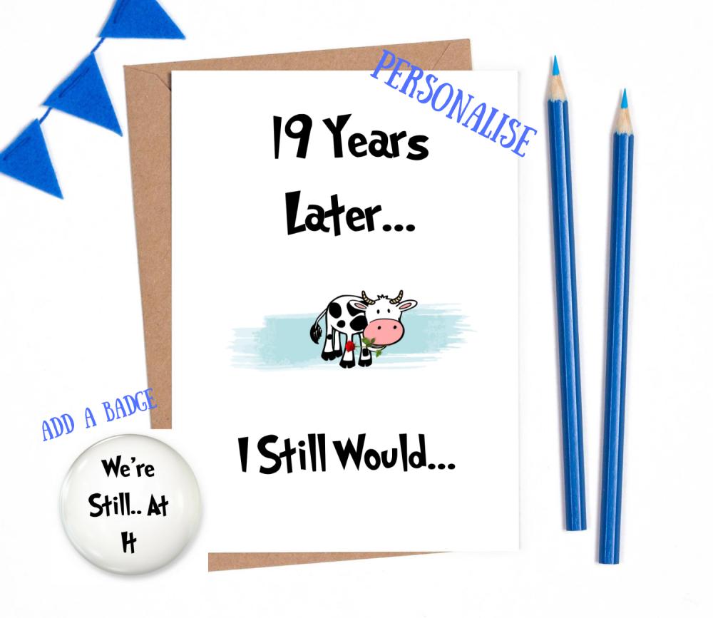 19th year anniversary card personalised wedding