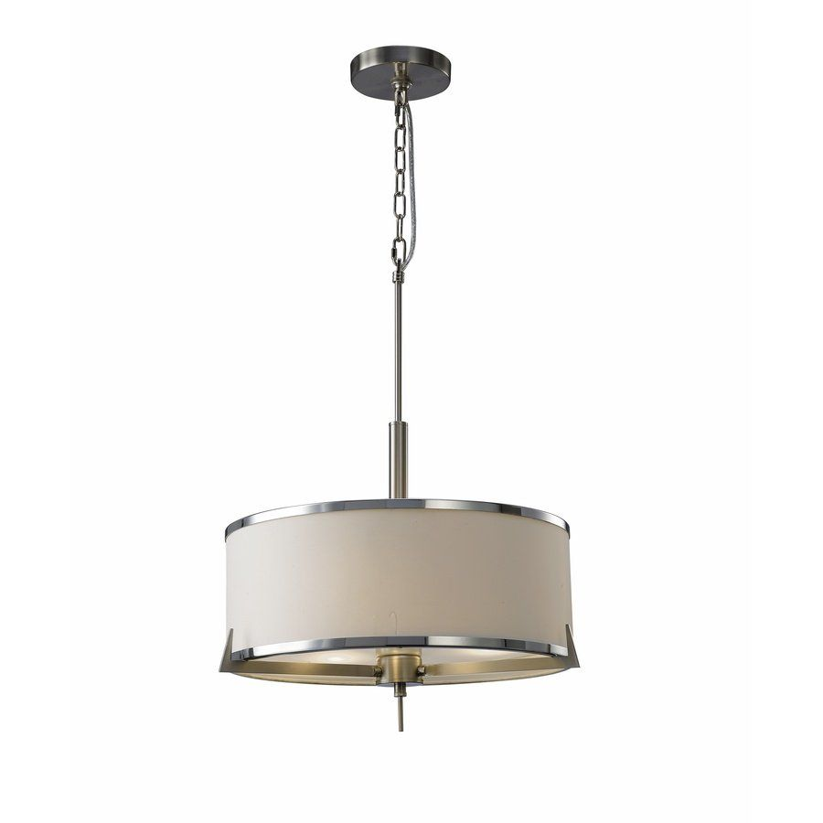 Source lighting d00022sn 3 light kate satin nickel and white shade chandelier lowes canada