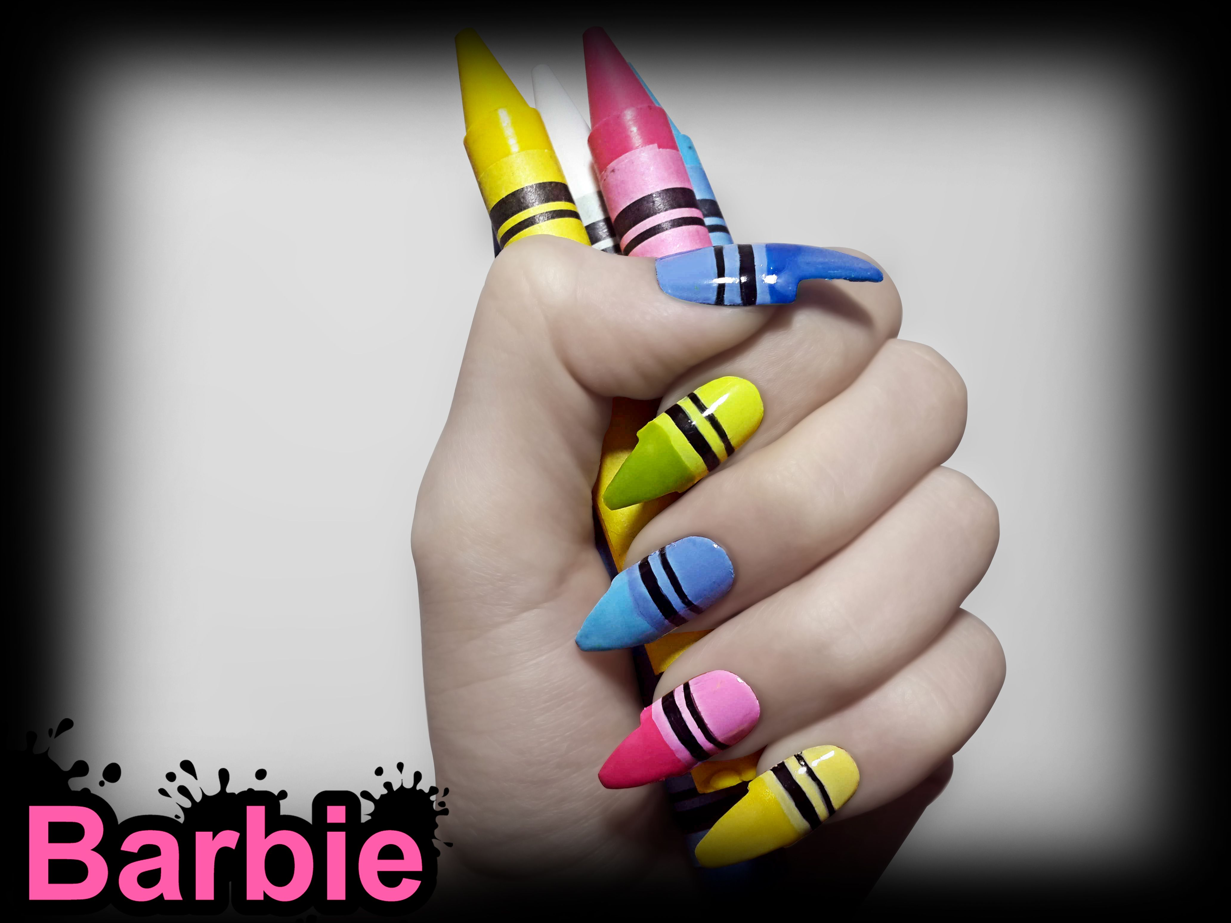 Crayon Nails - 3D nail design of colorful crayon colors. | barbie ...