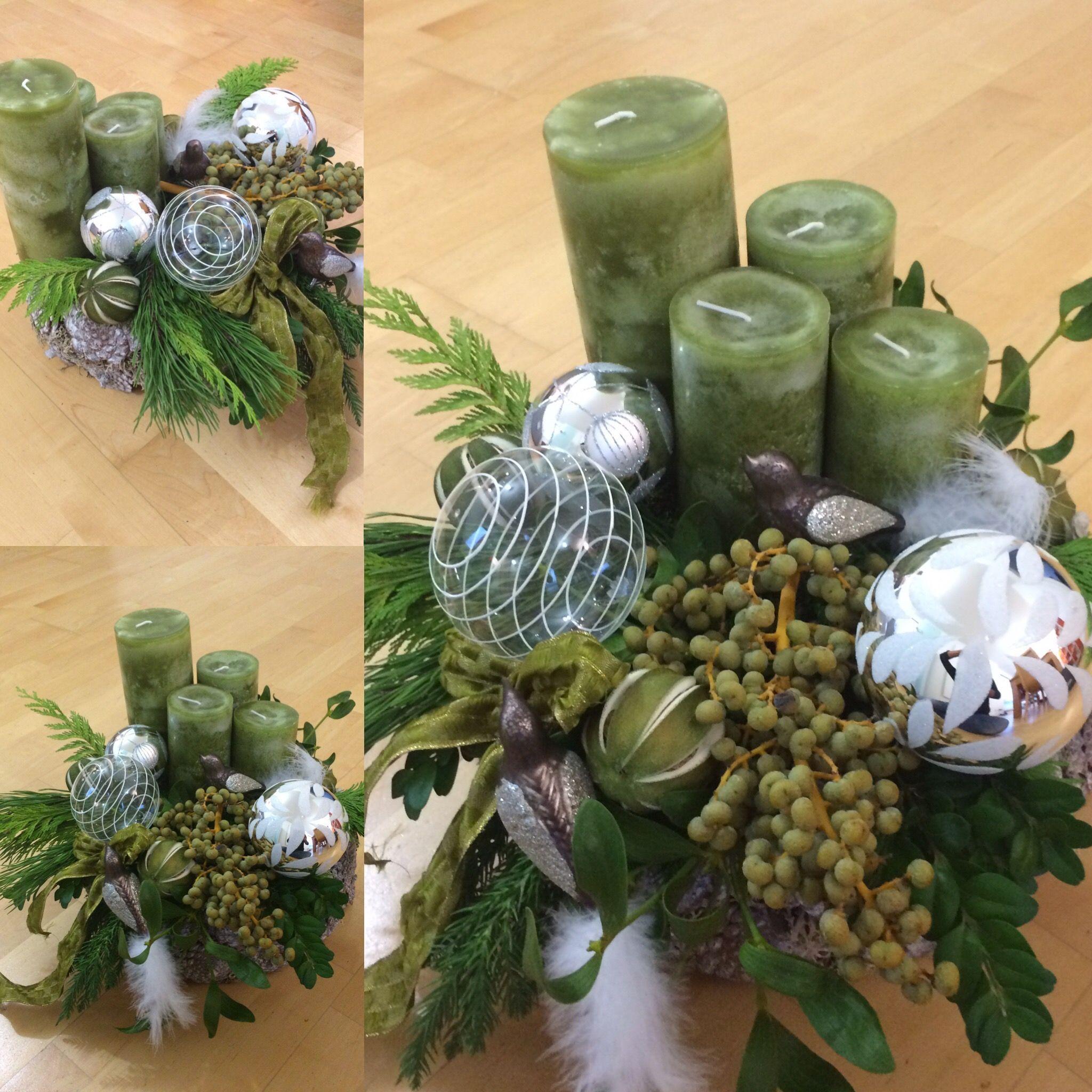 DIY Adventskranz Modern Grün Silber …