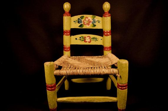 Large 16 Rustic Hand Crafted Rush Seat Wooden Doll Chair