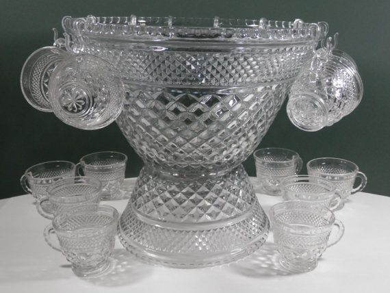 38 Pc 1970s Anchor Hocking Extra Large Punch Bowl 18 Cups By 2lewa