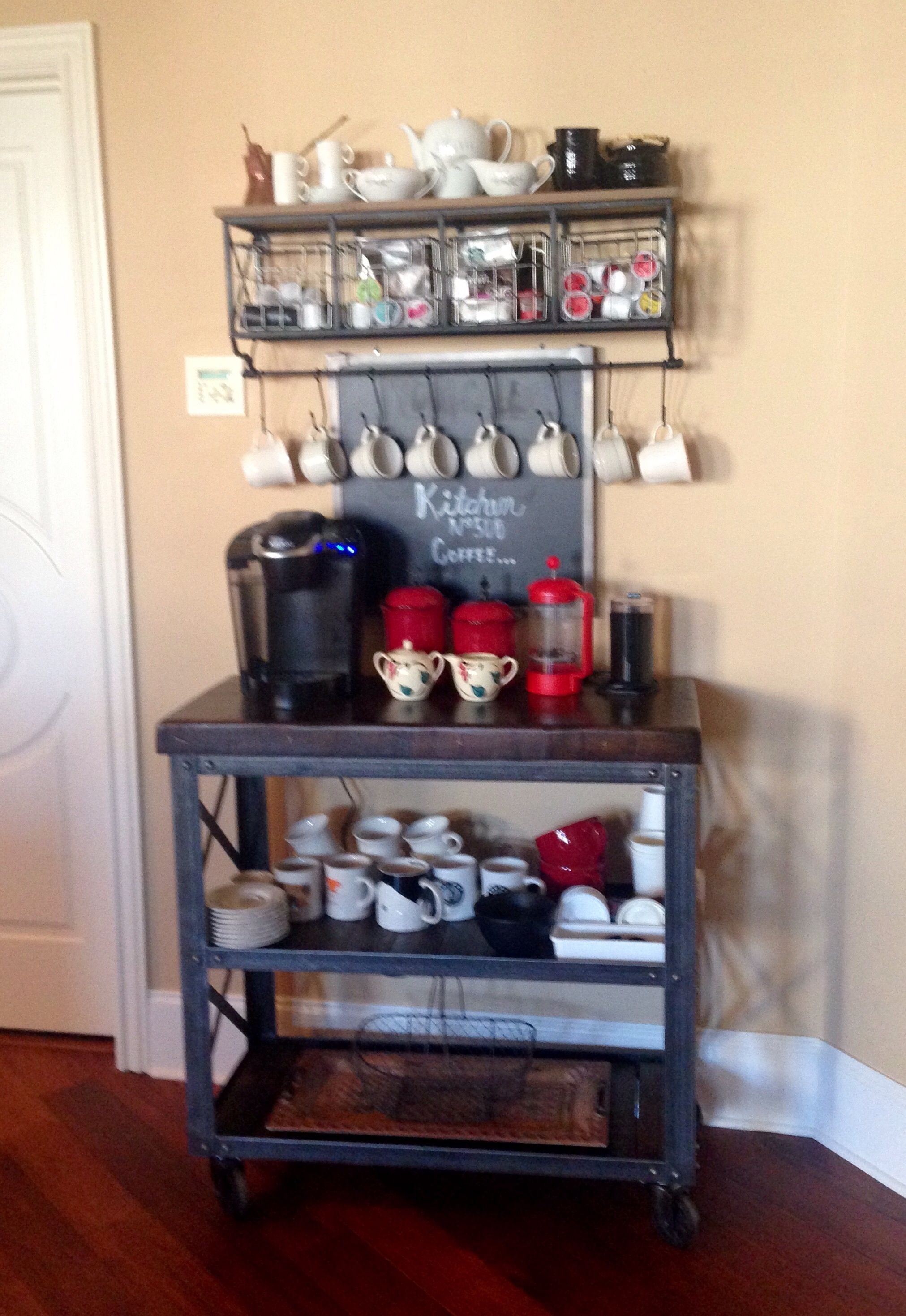 Kitchen No 508 Coffee Station Shelf With Wire Baskets And Hooks Came From Hobby Lobby Cart Came F Coffee Bars In Kitchen Coffee Station Home Coffee Stations