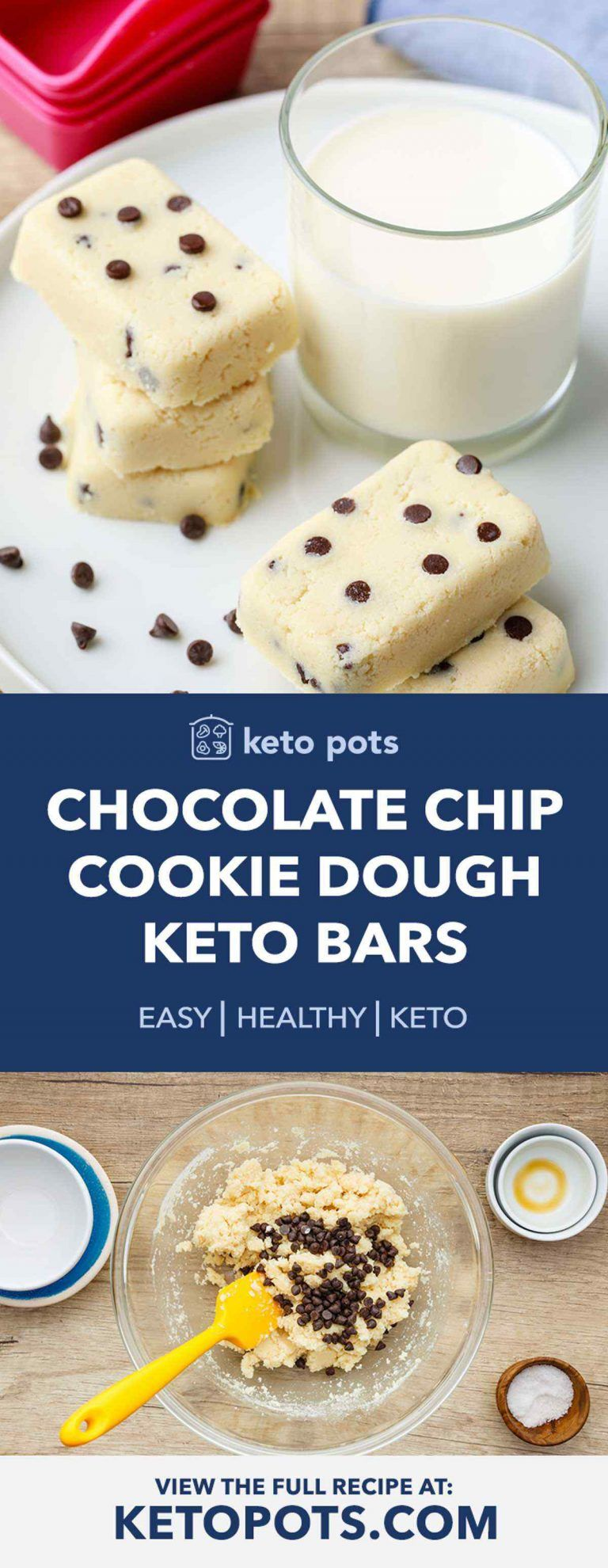 Keto Chocolate Chip Cookie Dough Protein Bars - Keto Pots #proteincookiedough