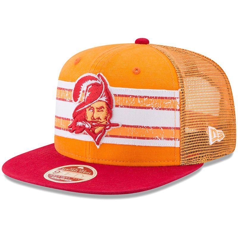 9cedfcf3d Tampa Bay Buccaneers New Era Vintage Throwback Stripe 9FIFTY Adjustable  Snapback Hat - Orange/Red