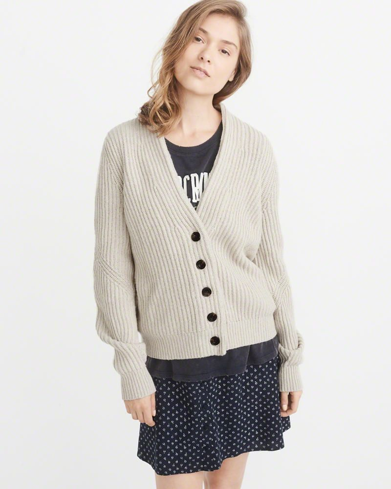 A&F Women's Short Ribbed Cardigan | Products