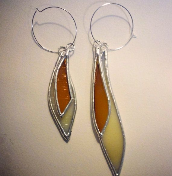 These earrings are handmade locally, in Cape Cod, MA. They serve as an example of my stained glass earrings that can be made-to-order. This