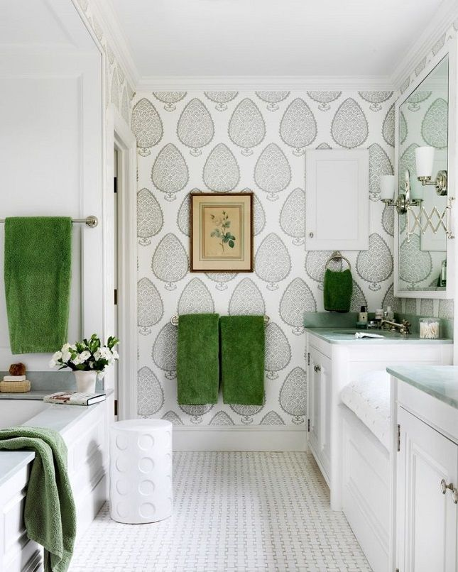 18 Gorgeous Ways To Use Wallpaper In Your Bathroom Wallpaper Accent Wall Bathroom Green Bathroom Home