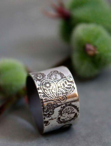bague jasmin d'hiver, bijou fleur indienne, motif cachemire en