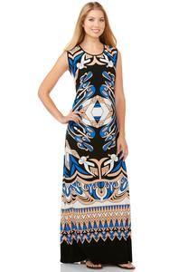 Scroll Print Maxi Dress-Plus