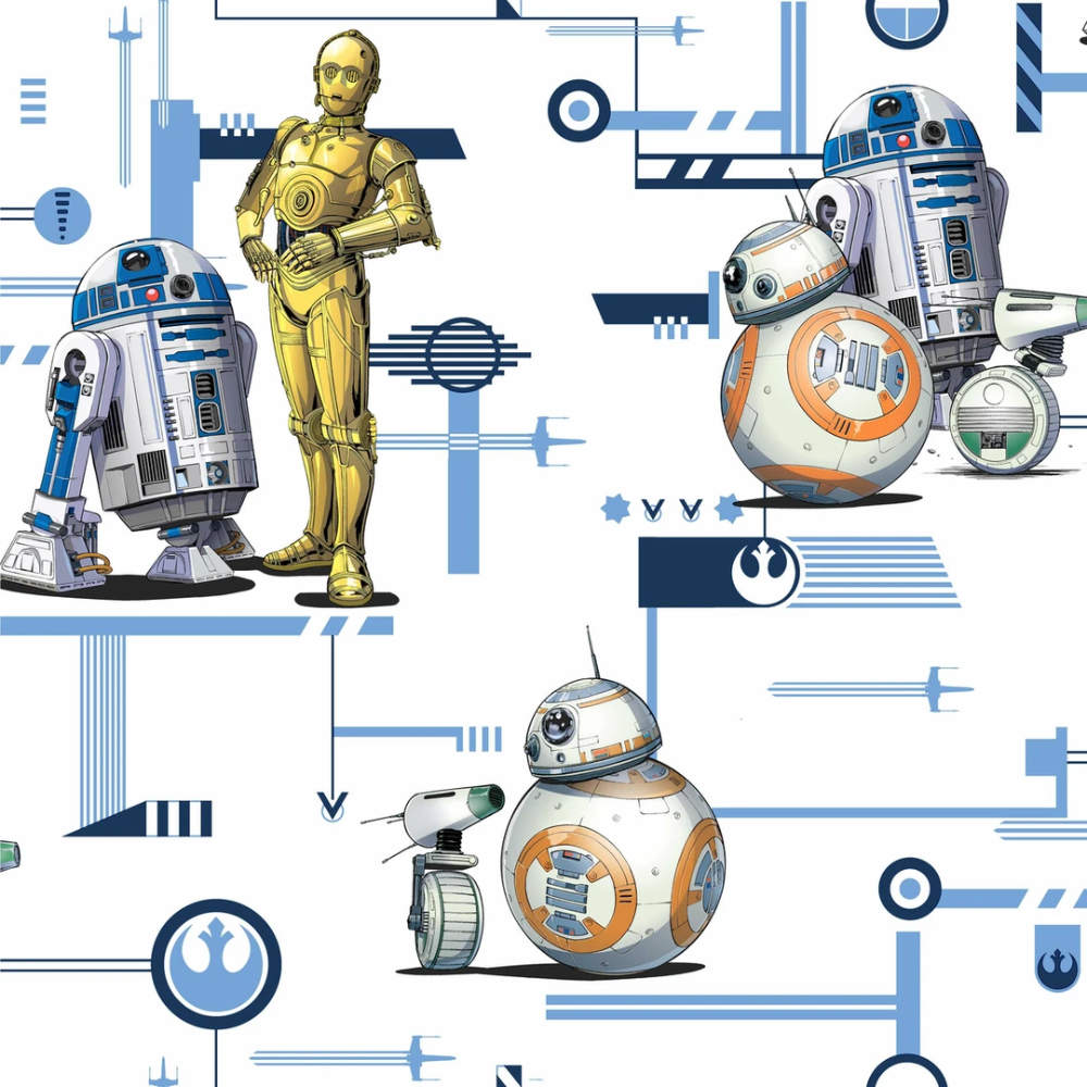 Star Wars The Rise Of Skywalker Droids Wallpaper Blue Gold Wall Coverings York Wallcoverings Star Wars Kids Room