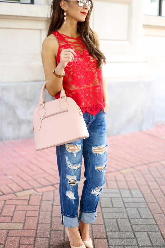 e253b5a03c Red Lace Up Top with Denim Jeans Red and Pink Is Not Just for Valentine s  Day. Red Top. Red Lace Top. Red Lace Up Top. All Over Lace Top.