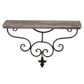 """Scrolling metal wall shelf with a weathered wood shelf and fleur-de-lis accent.   Product: Wall shelfConstruction Material: Metal and woodColor: Natural and blackDimensions: 12"""" H x 18.5"""" W x 8"""" D"""