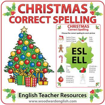 ESL Christmas Spelling Worksheet | Spelling worksheets, Spelling ...