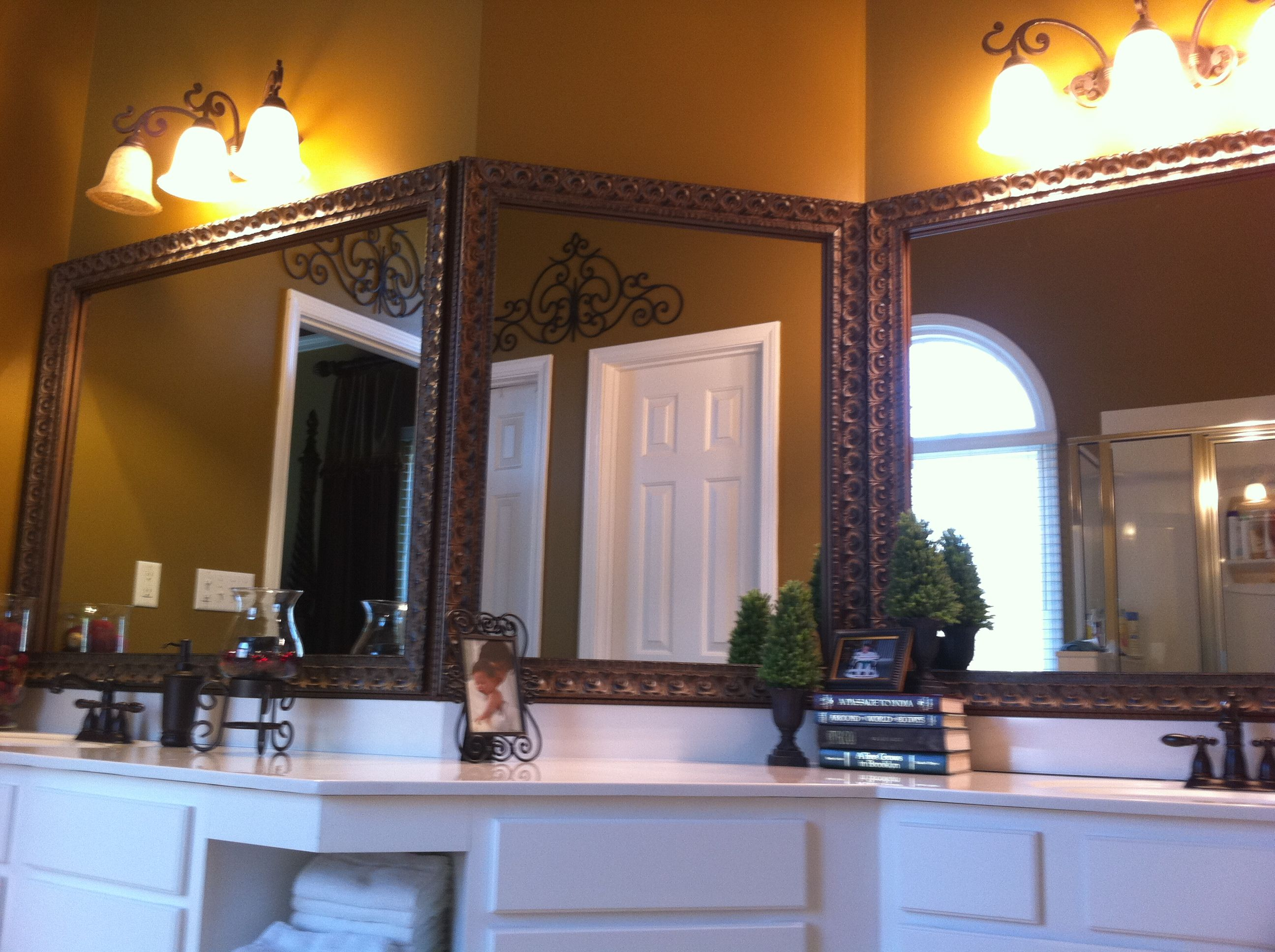 Triple Bathroom Mirror Framed With Blackwater Frame Style