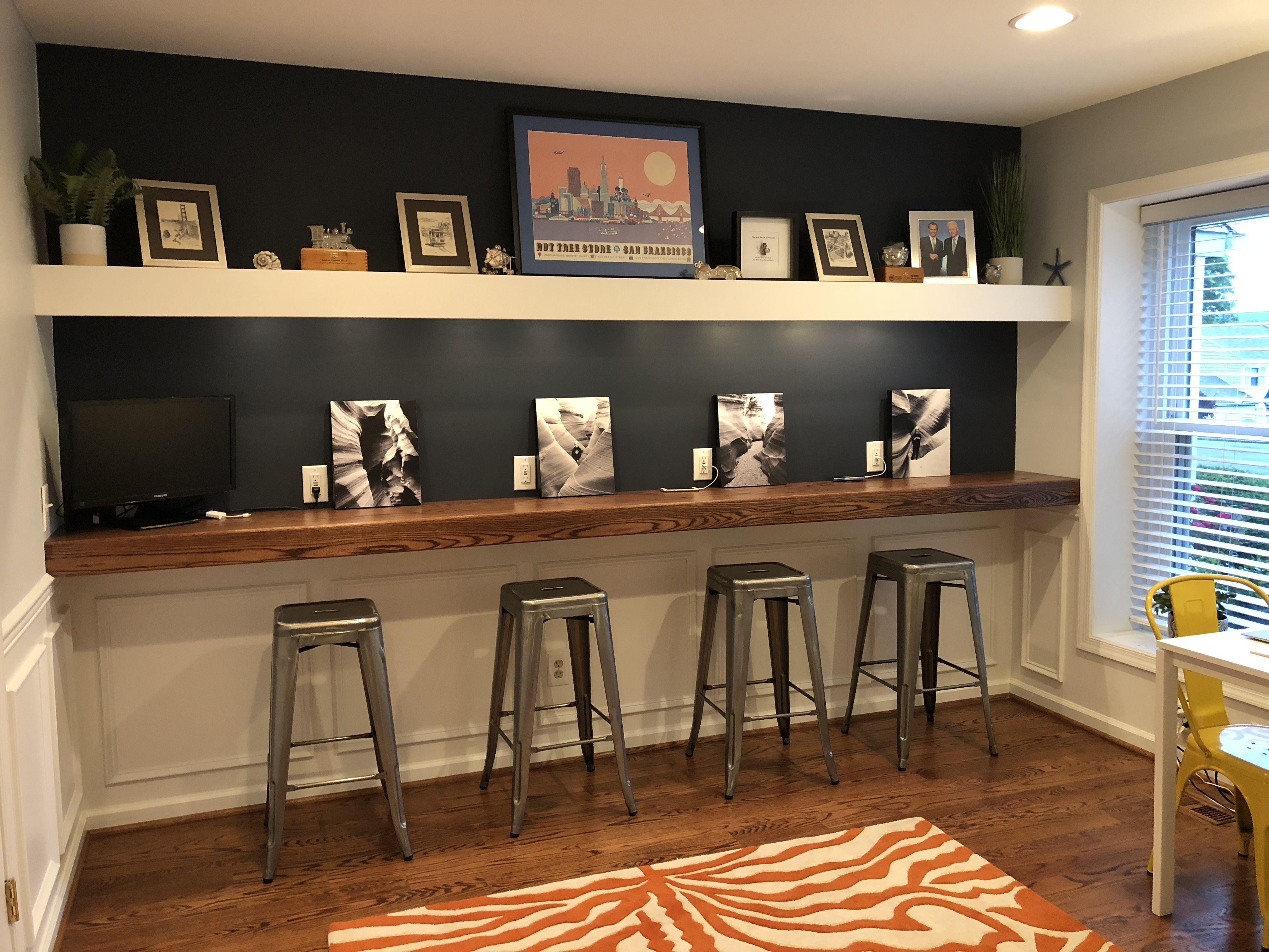Floating desk and floating shelf   Dining room makeover, Desk in ...