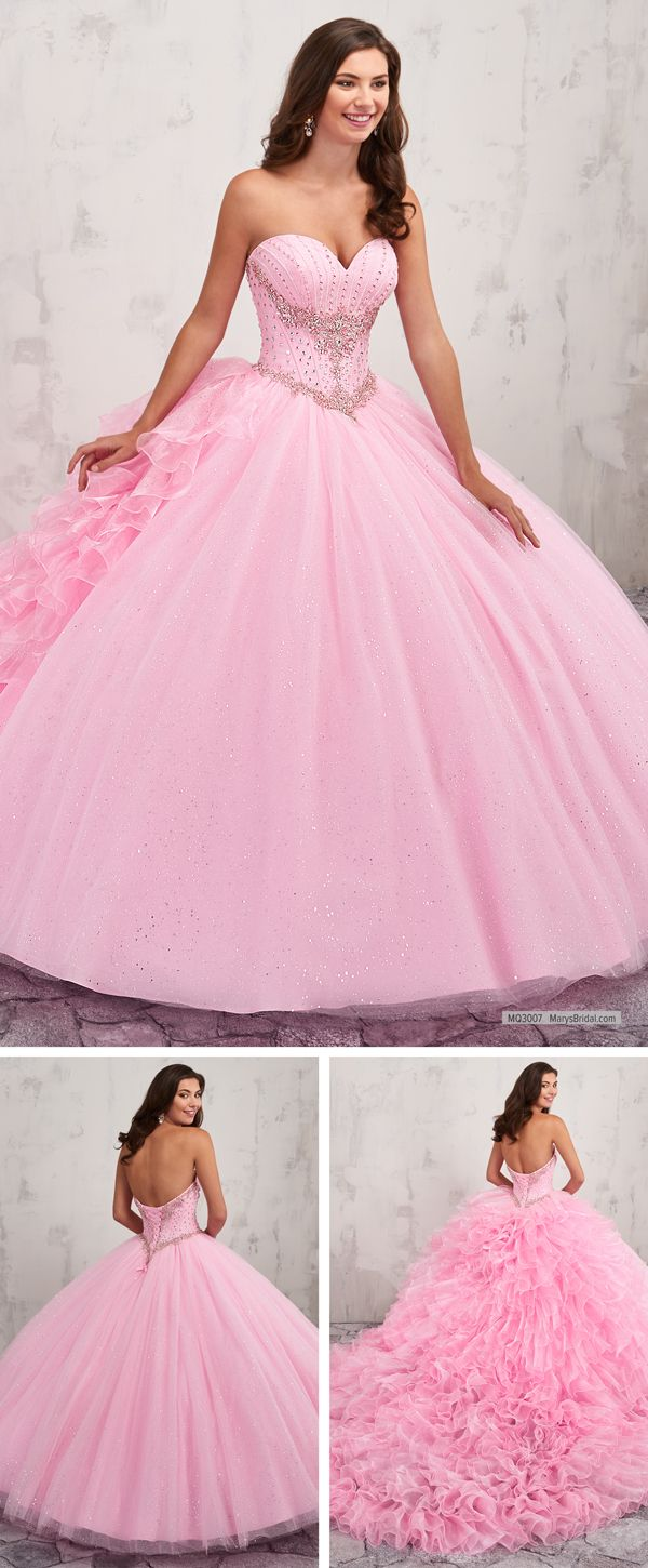 MQ3007 Strapless sparkling tulle quinceanera ball gown features ...
