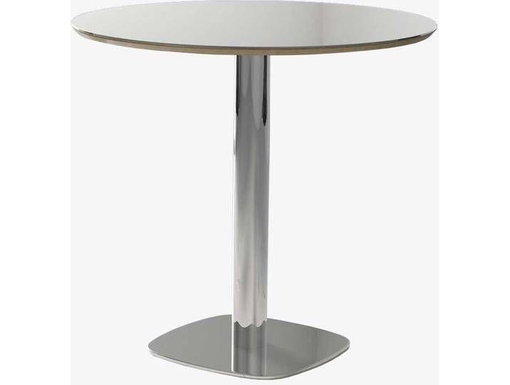 Runder Glastisch Mit Weissglasplatte Saulengestell Aus Verchromtem Stah Mit Bildern Tisch Glastische Glas