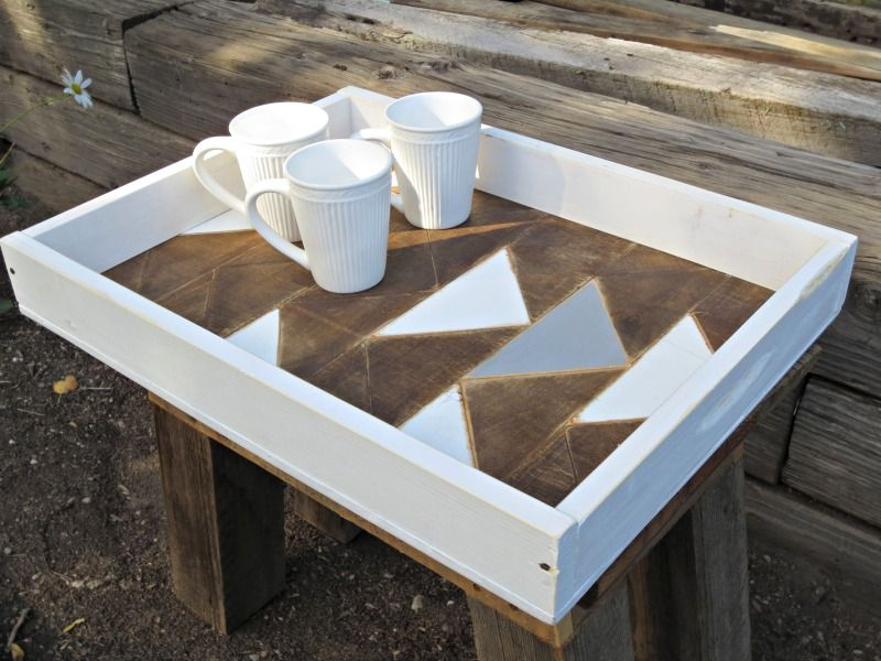 White wooden serving tray with triangle geometrical