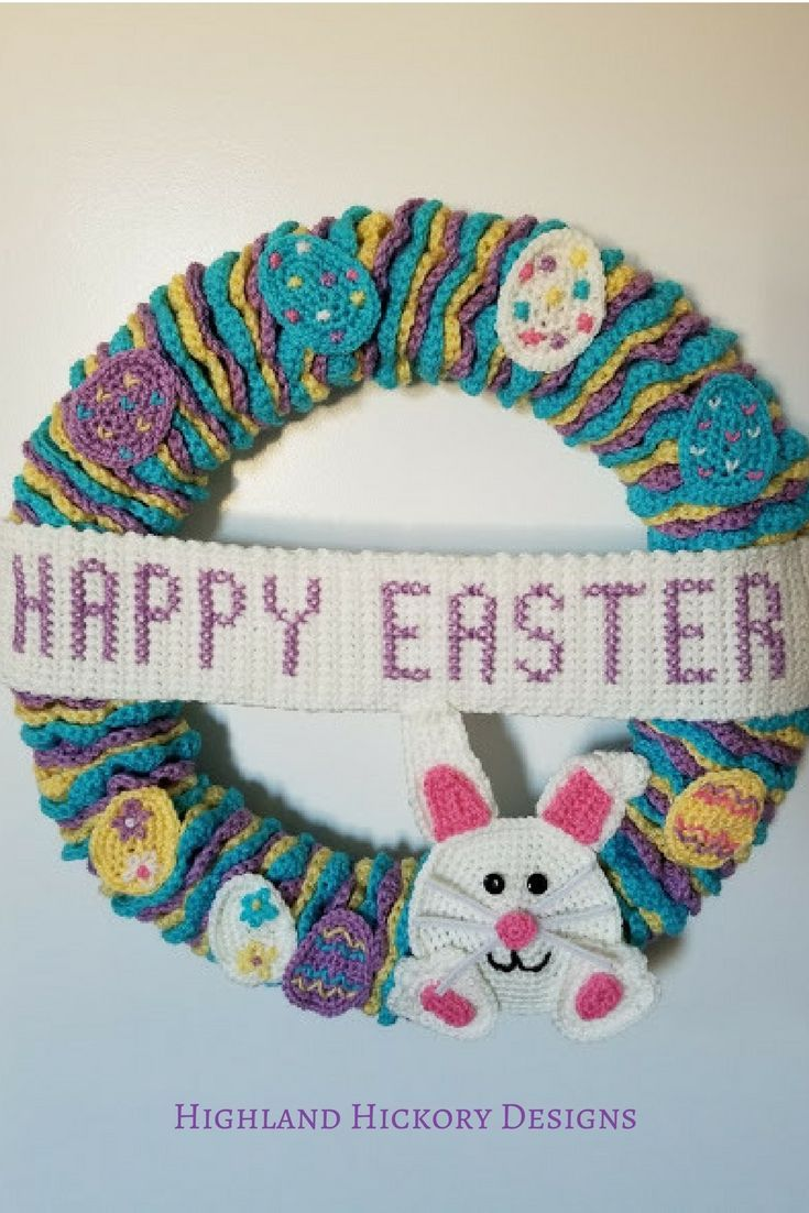 Easter Wreath - Free Crochet Pattern | Wire wreath frame, Easy ...