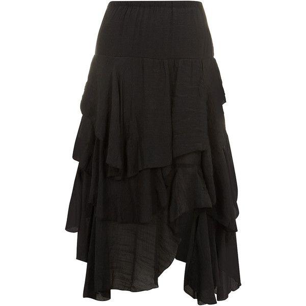 Dorothy Perkins Black Maxi Skirt Ruffled Tiers (375 ARS) ❤ liked ...