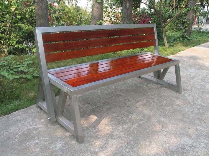 304 Stainless Steel Park Bench Stainless Steel And Wood