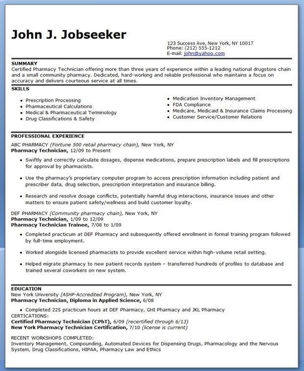 Pharmacy Technician Resume Sample (Experienced) pharmacy - Expert Tips On Resume Principles