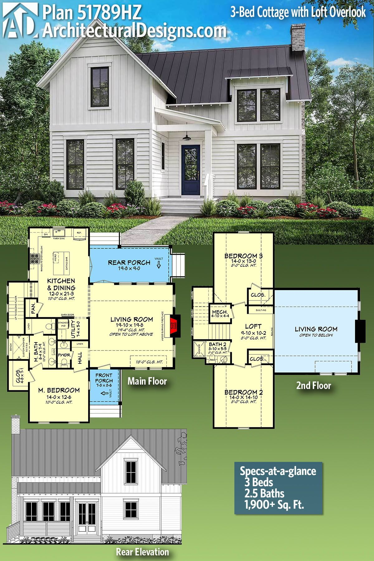 Plan 51789hz 3 Bed Cottage With Loft Overlook Cottage Plan House Plans Farmhouse House Plans