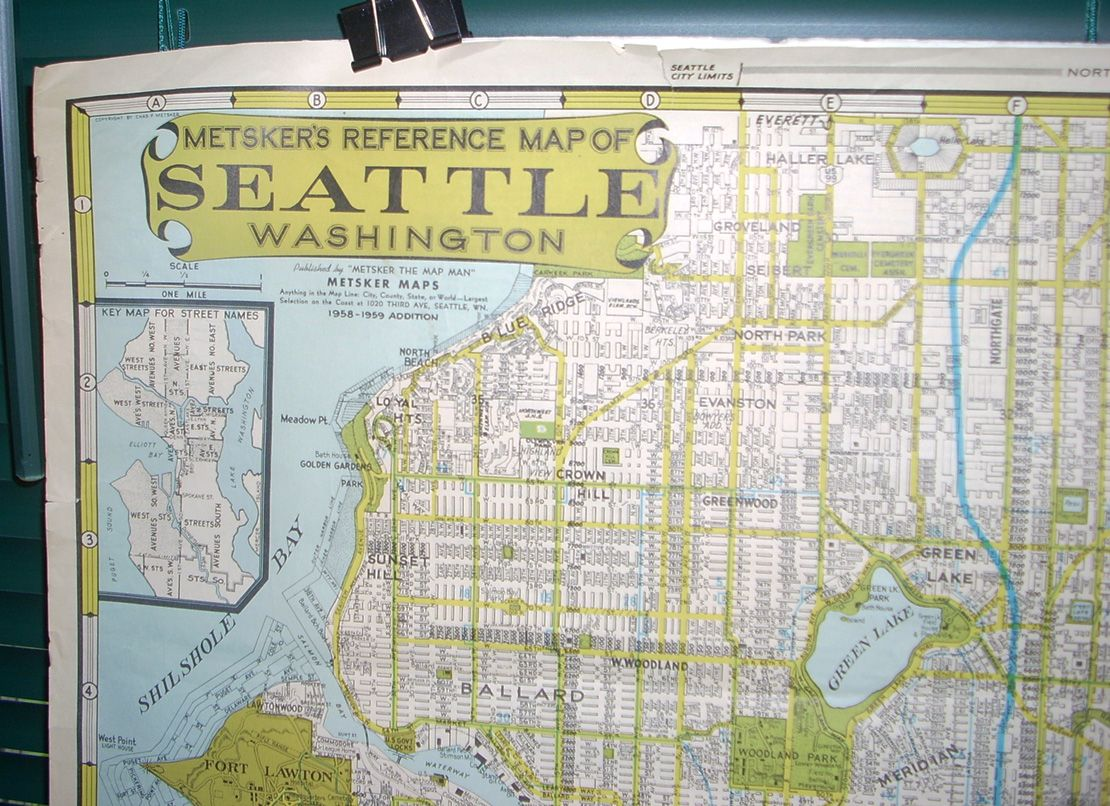 1959 Map of Seattle by Metsker the