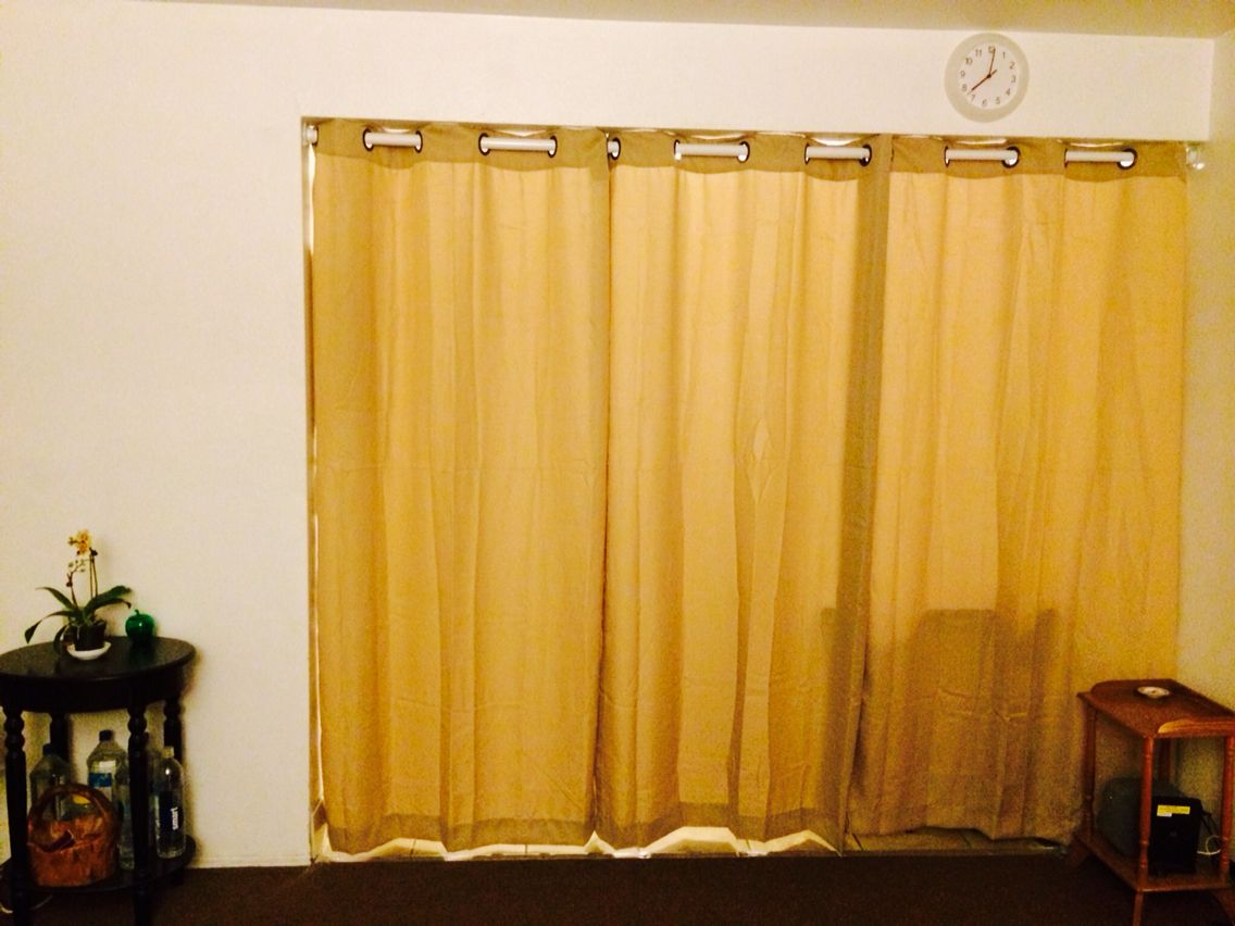 DIY curtain room divider, by Home Depot brackets and 120 in closet ...