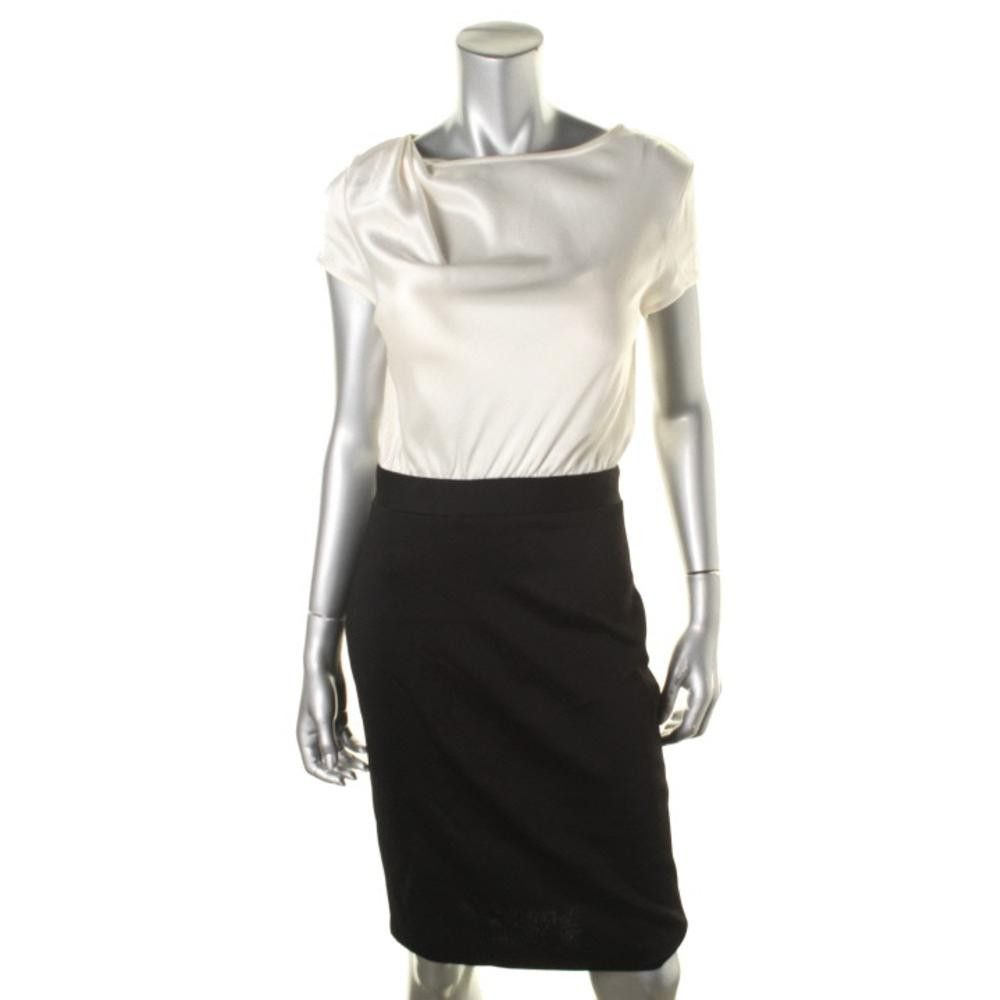 St. John Womens Colorblock Gathered Wear to Work Dress