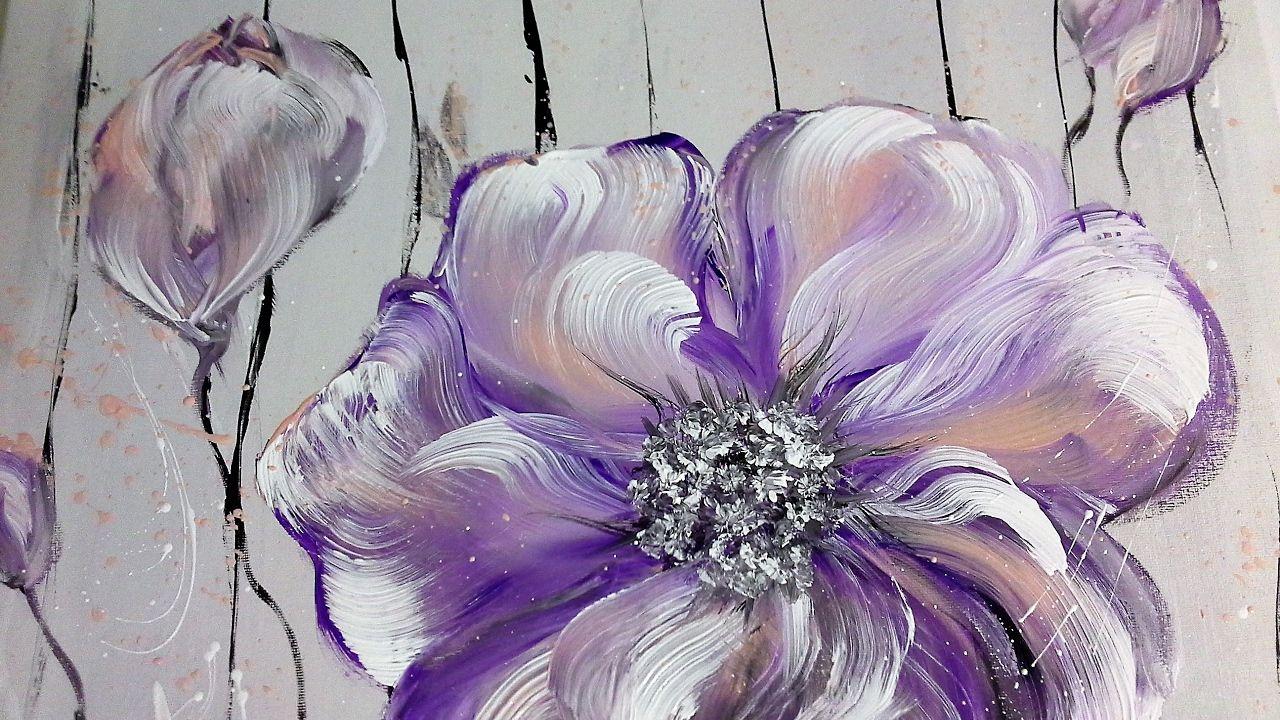 Rein Und Raus Original Gemalde Blumen Acrylmalerei Etsy